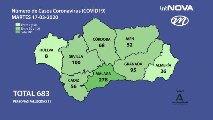 MAPA ANDALUCIA CORONAVIRUS 17-03-20