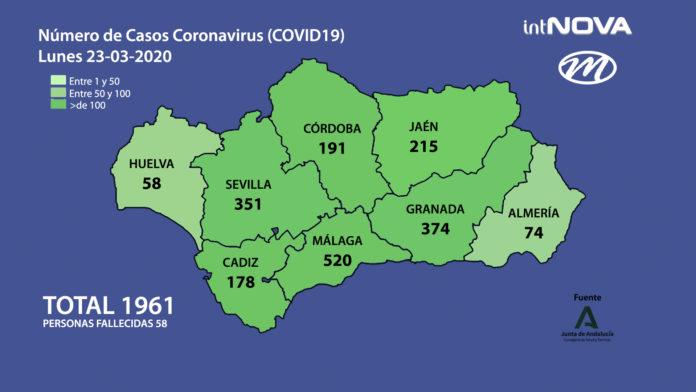 MAPA ANDALUCIA CORONAVIRUS 23-03-20