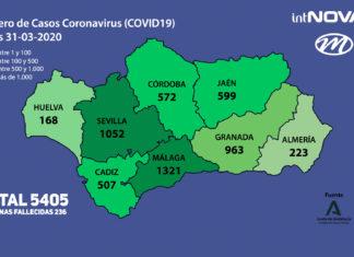 MAPA ANDALUCIA CORONAVIRUS 30-03-20