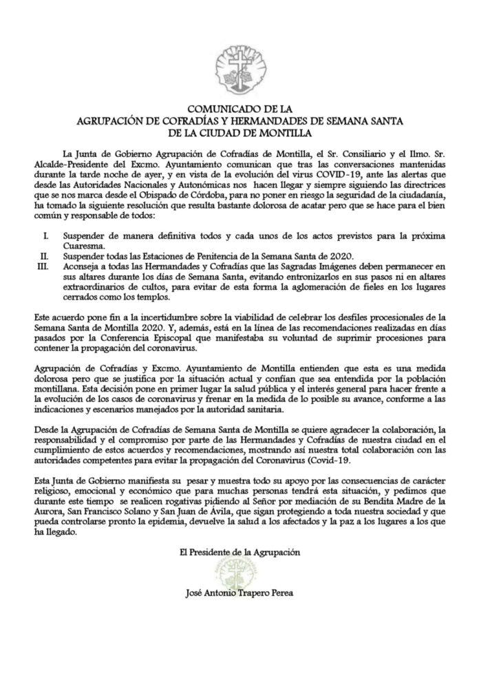 Comunicado Agrupación de Cofradías 2020