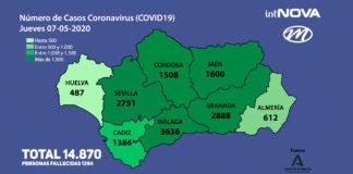MAPA ANDALUCÍA CORONAVIRUS 07-05-20
