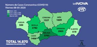 MAPA ANDALUCÍA CORONAVIRUS 08-05-20